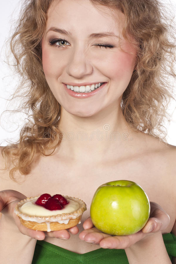 Download Beautiful Blonde , Between  Apple And Cake Stock Image - Image: 25929725