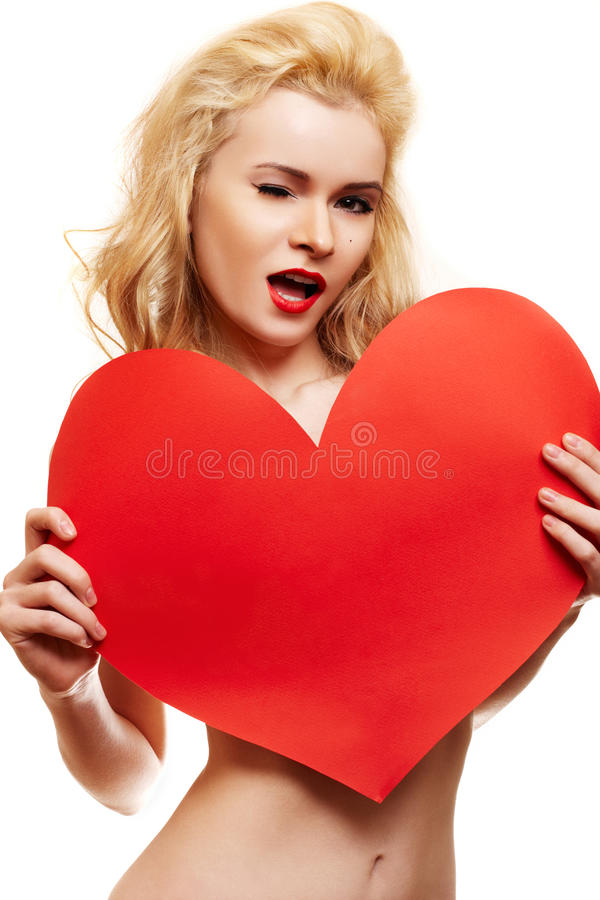 Download Beautiful Blonde With Big Red Heart Stock Image - Image of female, blonde: 13930141
