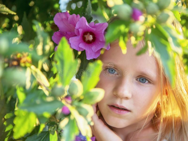 Beautiful blonde blue-eyed  fashionable young girl stands among blossom trees. Violet flowers. Spring, summer portrait. stock photo