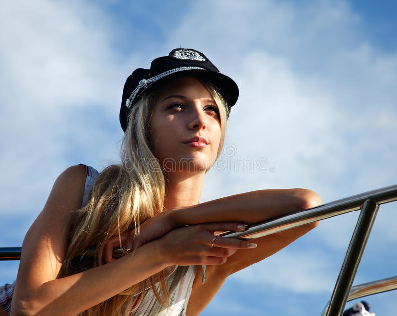 Download Beautiful blonde captain stock photo. Image of female - 14485722