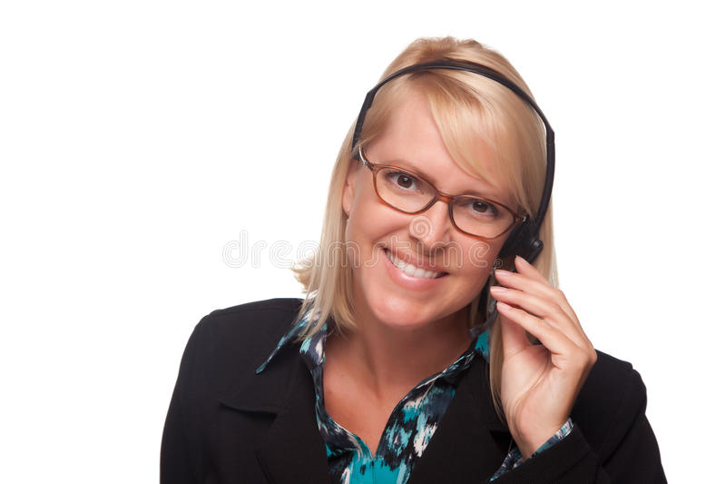 Beautiful Blonde Customer Support Woman with Heads royalty free stock photography