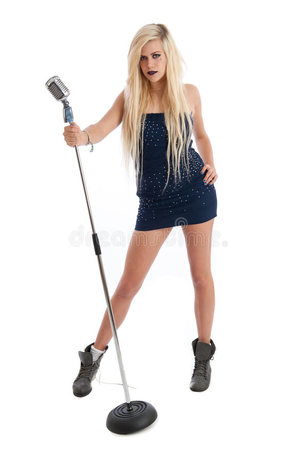 Download Beautiful Blonde Female Singer In Blue Dress Royalty Free Stock Image - Image: 20605716