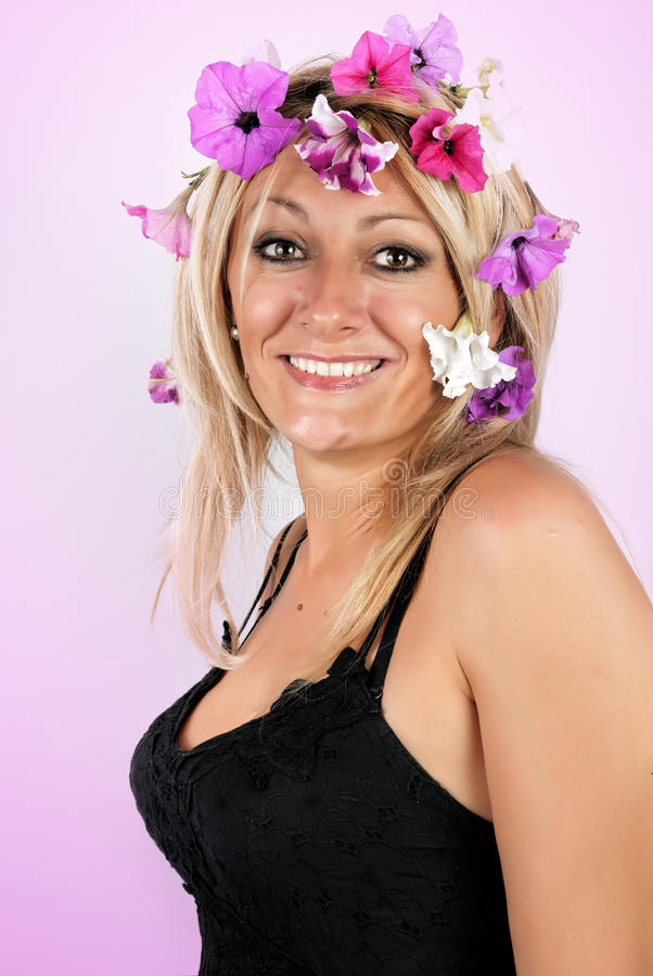 Beautiful Blonde With Flowers In Her Hair Stock Photo