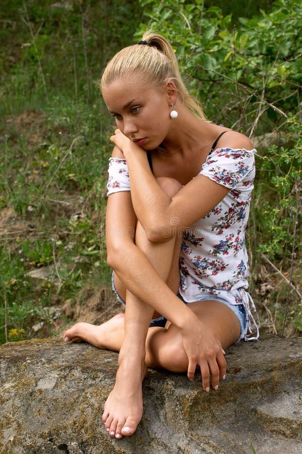 Beautiful blonde girl stock image