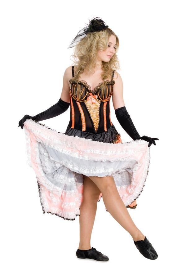 Beautiful blonde girl dancing stock images