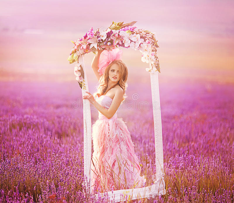 Beautiful Blonde Girl In A Field Of Lavender Stock Image