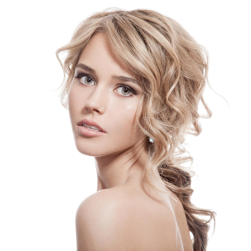 Free Beautiful Blonde Girl. Healthy Long Curly Hair. Stock Photography - 34855062