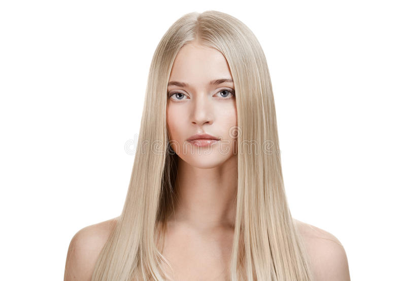 Beautiful Blonde Girl. Healthy Long Hair stock images