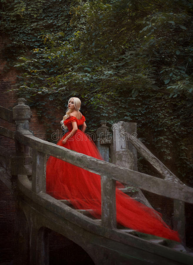 Free Beautiful Blonde Girl In A Luxurious Red Dress Stock Photography - 76417102