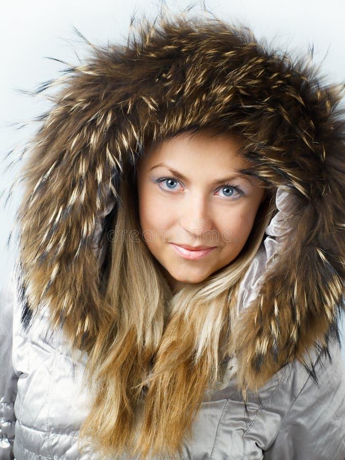 Free Beautiful Blonde Girl In Fur Hood Royalty Free Stock Images - 3777009