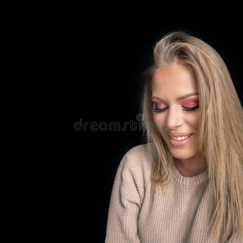 Beautiful blonde girl Perfect Make up, Makeup Model. royalty free stock photo