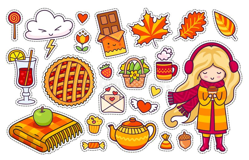 Beautiful blonde girl, plaid, berry pie, autumn leaves, mulled wine, chocolate, kettle, coffee. stock illustration