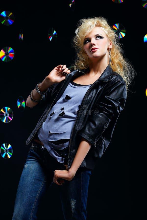 Beautiful blonde girl rocker stock photos
