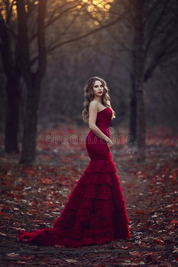 Beautiful blonde girl in a chic red dress posing in the fairy autumn forest. Fantastic atmospheric photos in creative. Beautiful blonde girl in a stunning chic royalty free stock photo