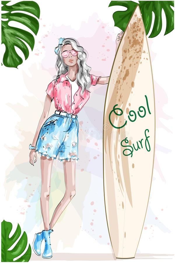 Beautiful blonde girl with surfboard. Pretty sport girl. Summer look. Summer rest. Hand drawn fashion girl. Sketch. Vector illustration royalty free illustration