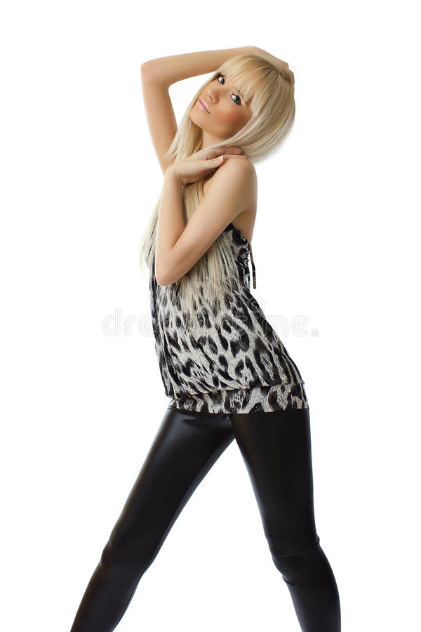Beautiful blonde girl on white background stock image