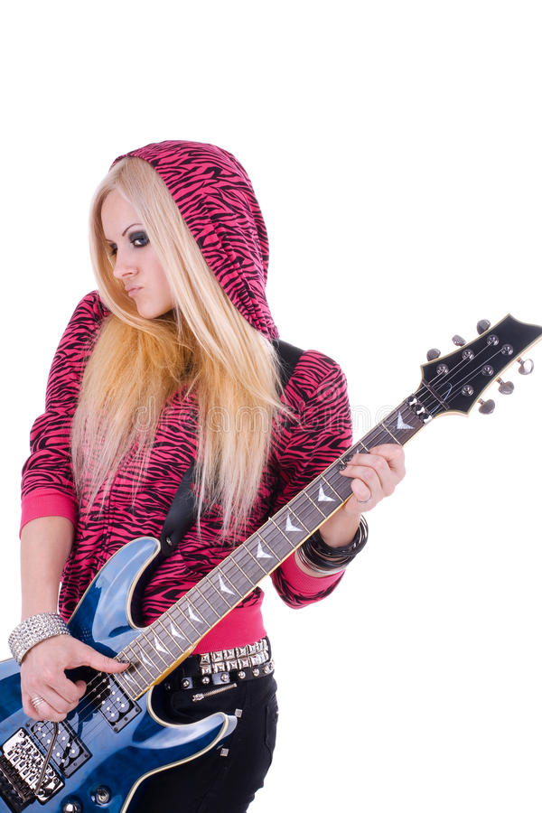 Beautiful blonde with a guitar royalty free stock image
