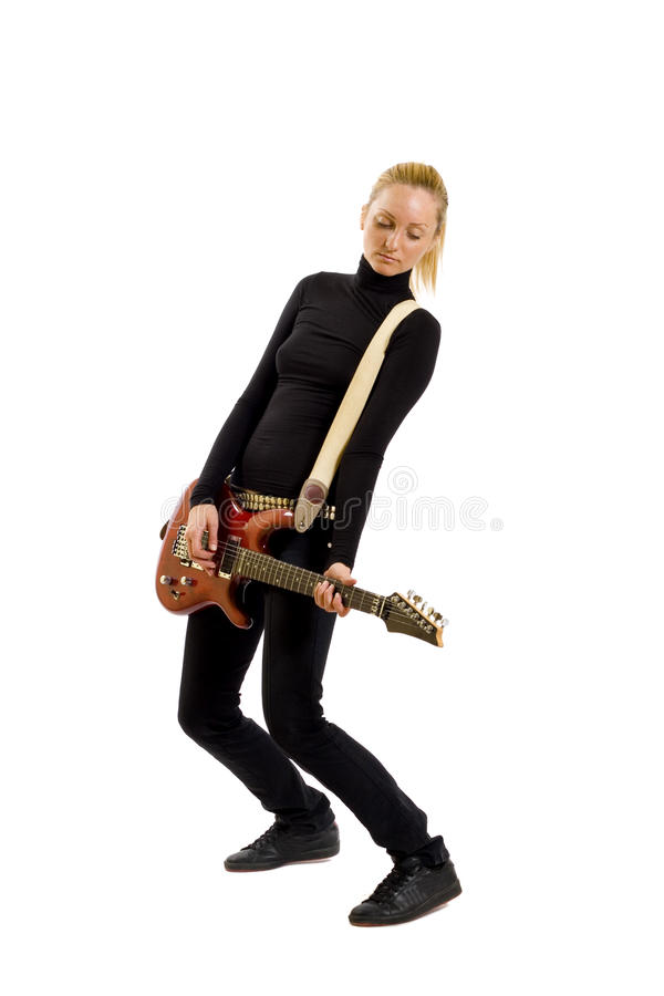 The beautiful blonde with a guitar royalty free stock image