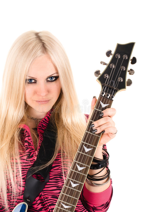 Beautiful blonde with a guitar royalty free stock photos