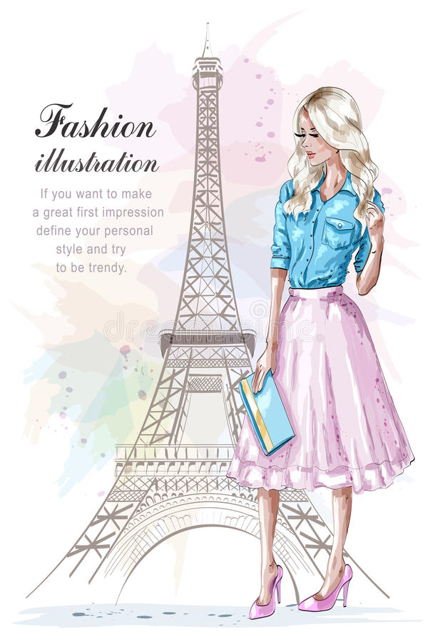 Beautiful blonde hair girl with hand bag. Fashion woman with eiffel tower on background. Hand drawn young woman in fashion clothes stock illustration