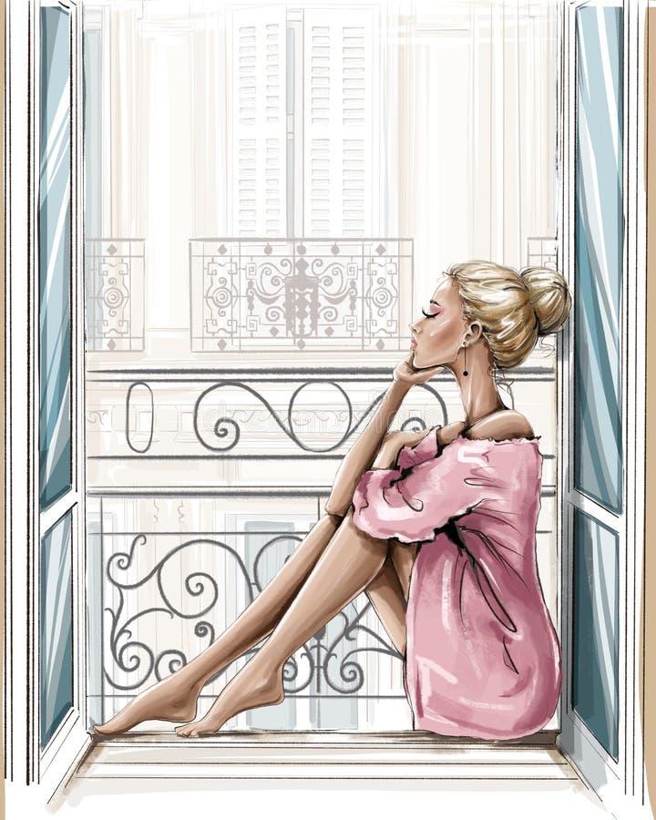 Free Beautiful Blonde Hair Woman Sitting On Windowsill. Royalty Free Stock Photo - 200602035