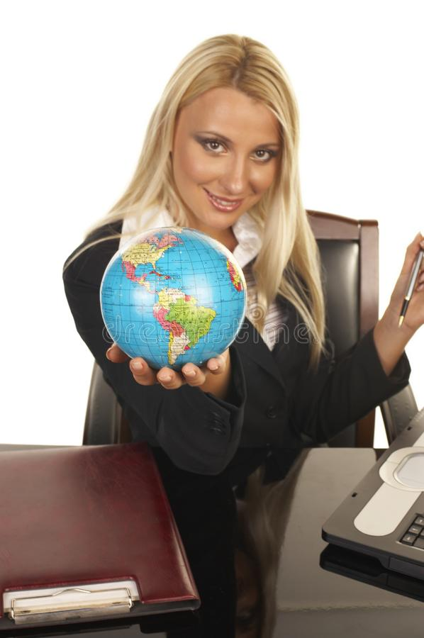 Beautiful Blonde Holding the Globe royalty free stock photography