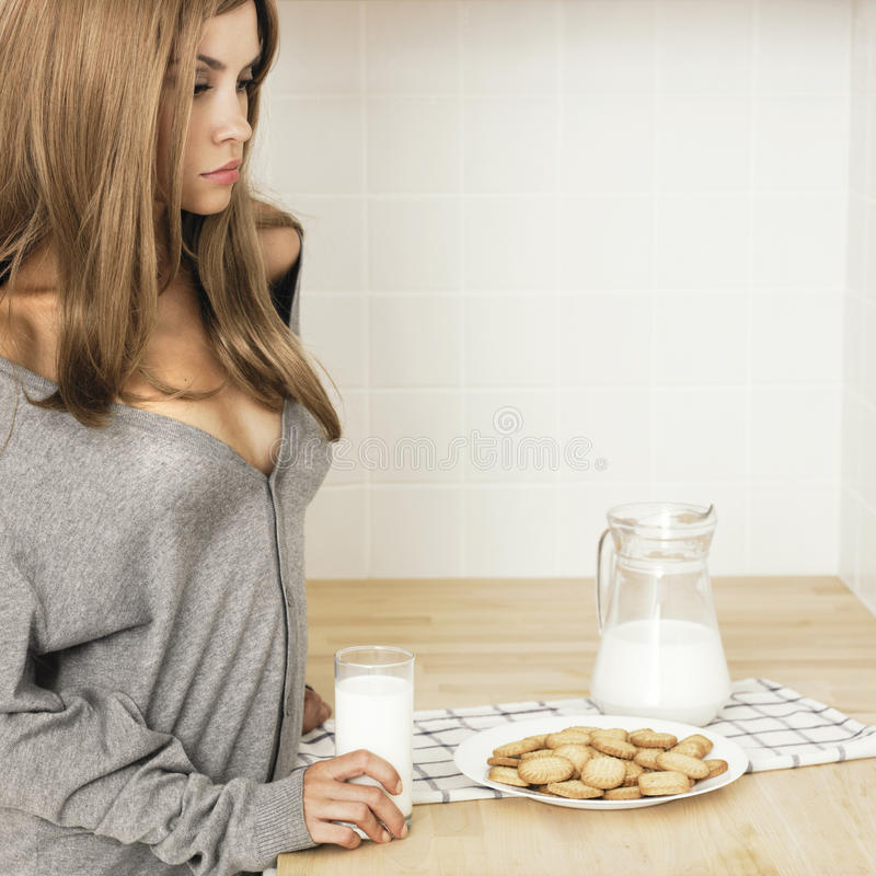 Download Beautiful Blonde On The Home Kitchen Stock Photo - Image: 22037828