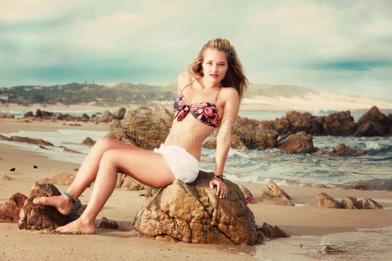 Download A Beautiful Blonde Lady In Her Bikini On A Beach In Africa Stock Photo - Image: 37370996