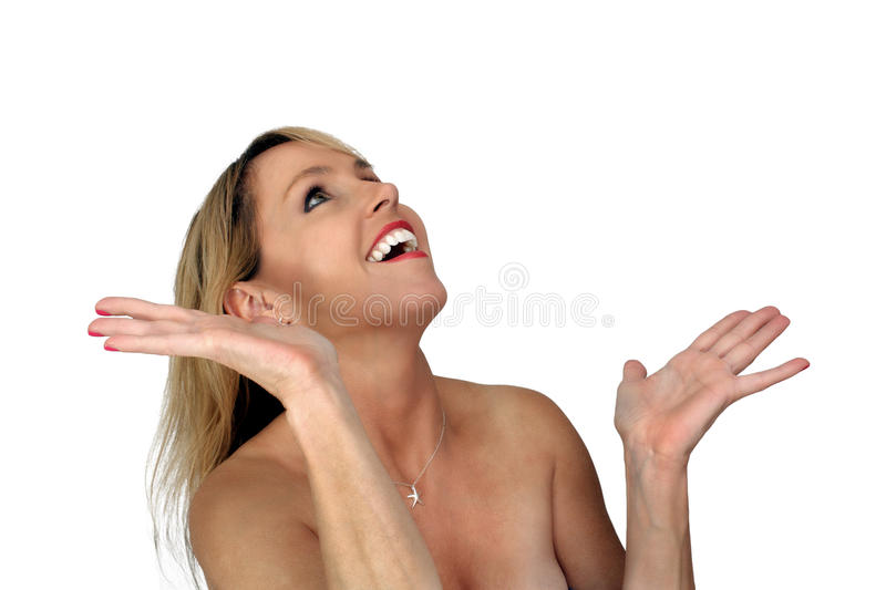 Beautiful Blonde Laughing With Hands Raised (1) Stock Photo