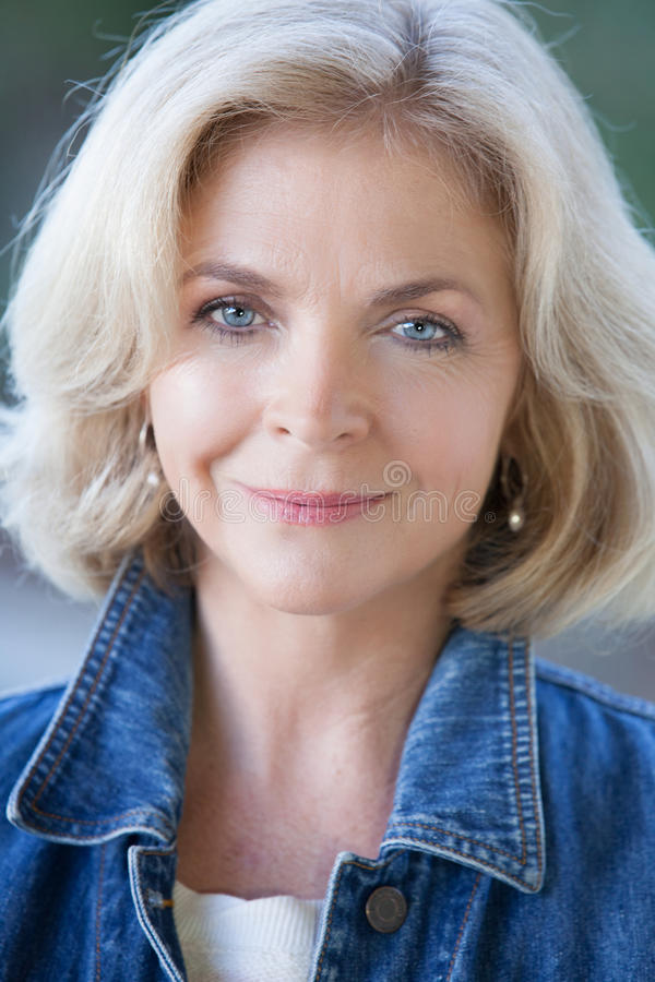 Beautiful Blonde Middle Aged Woman stock photo