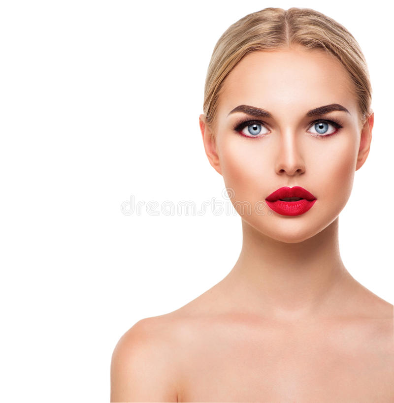 Beautiful blonde model woman face with blue eyes stock photo