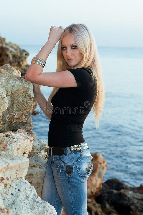 Free Beautiful Blonde On Sea Background Stock Image - 12437491