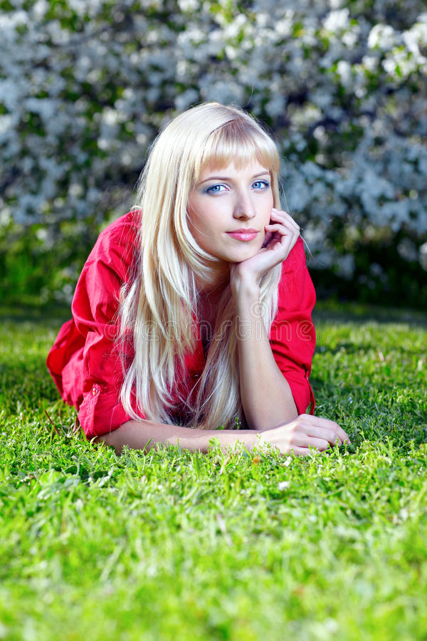 Download Beautiful blonde outdoors stock photo. Image of flower - 19882628