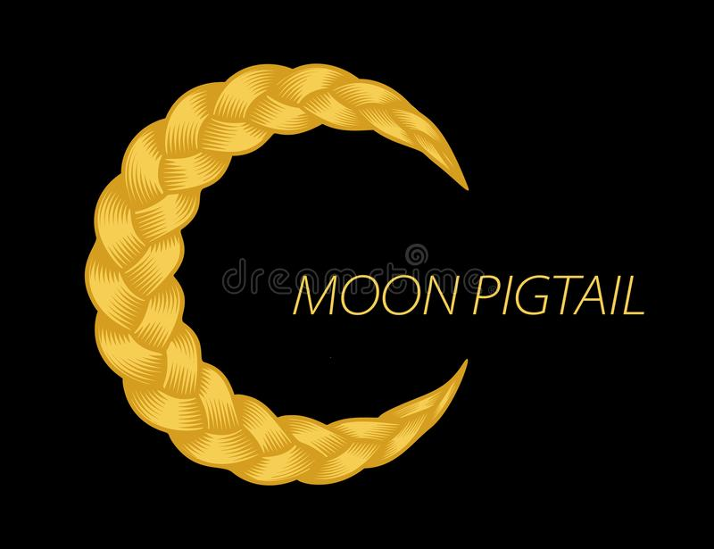 Beautiful blonde pigtail moon curly wavy vector. Beautiful blonde pigtail moon curly wavy. Gold hair swirl. Color flow detailed volume wave isolated. Colorful vector illustration