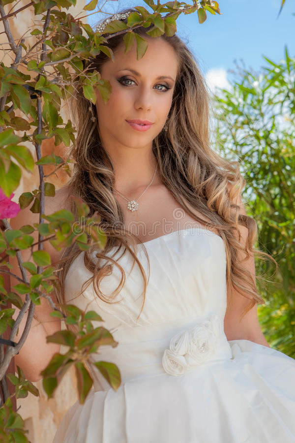 Download Beautiful Blonde In Prom Dress Or Wedding Gown Stock Photo - Image: 41366368
