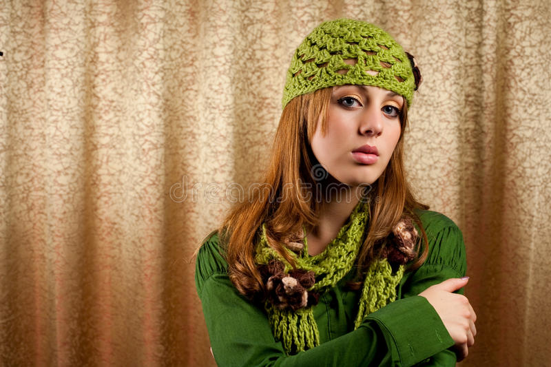 Download Beautiful Blonde In Retro Cap And Scarf Royalty Free Stock Photography - Image: 11443477
