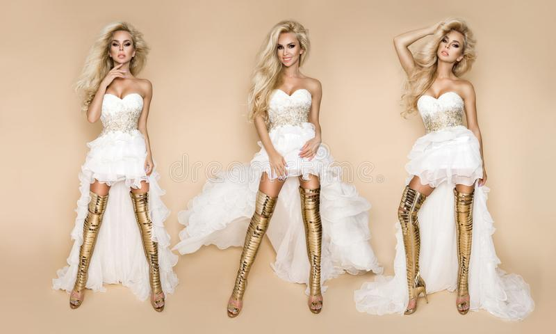 Beautiful blonde bride model in a wedding dress and amazing gold shoes. Beautiful blonde model bride in a wedding dress and amazing gold shoes stock photo