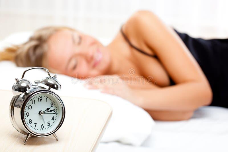 Beautiful blonde sleeping royalty free stock image