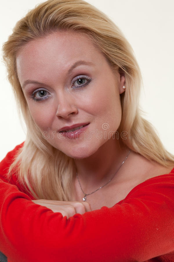 Beautiful blonde thirties caucasian woman stock photos