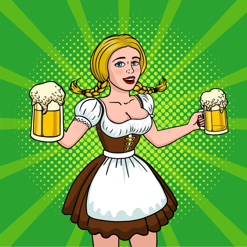 Beautiful blonde with two mugs of beer. Girl oktoberfest pop art. Vector illustration in comic style stock illustration