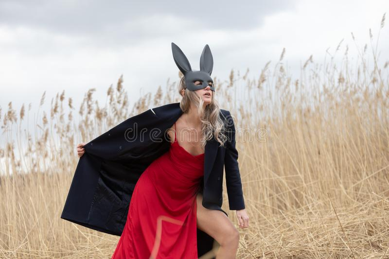 Beautiful blonde woman in black animal mask. Red sexy dress and black autumn coat. Field with high autumn grass stock image