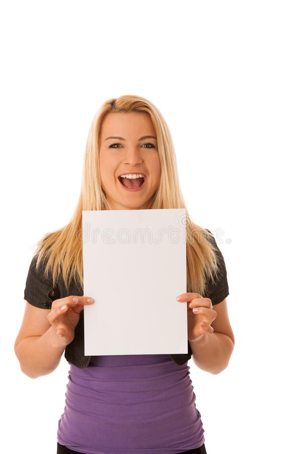 Beautiful blonde woman with blank banner for commercials isolate royalty free stock photography