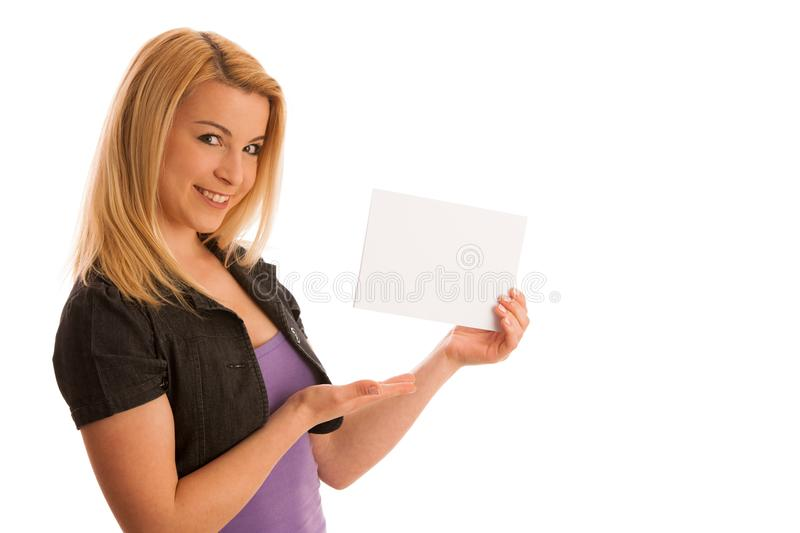 Beautiful blonde woman with blank banner for commercials isolate stock images