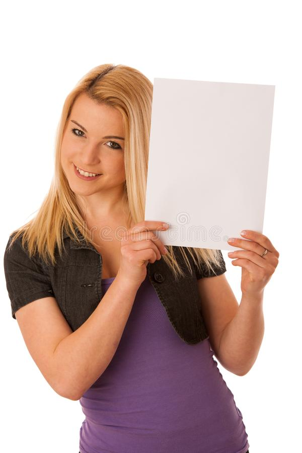 Beautiful blonde woman with blank banner for commercials isolate stock photography