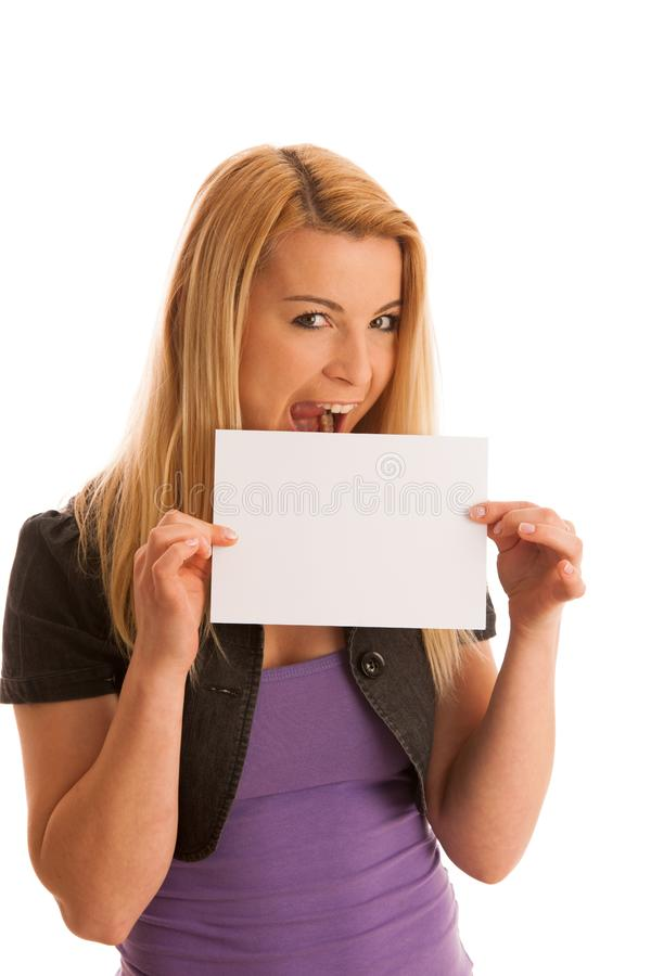 Beautiful blonde woman with blank banner for commercials isolate stock photos
