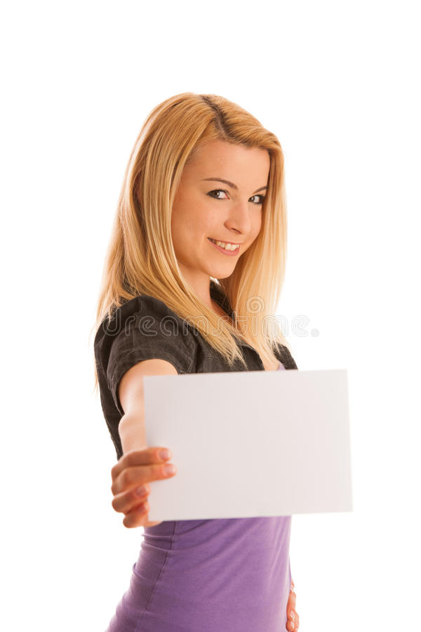 Beautiful blonde woman with blank banner for commercials isolate. D royalty free stock photography