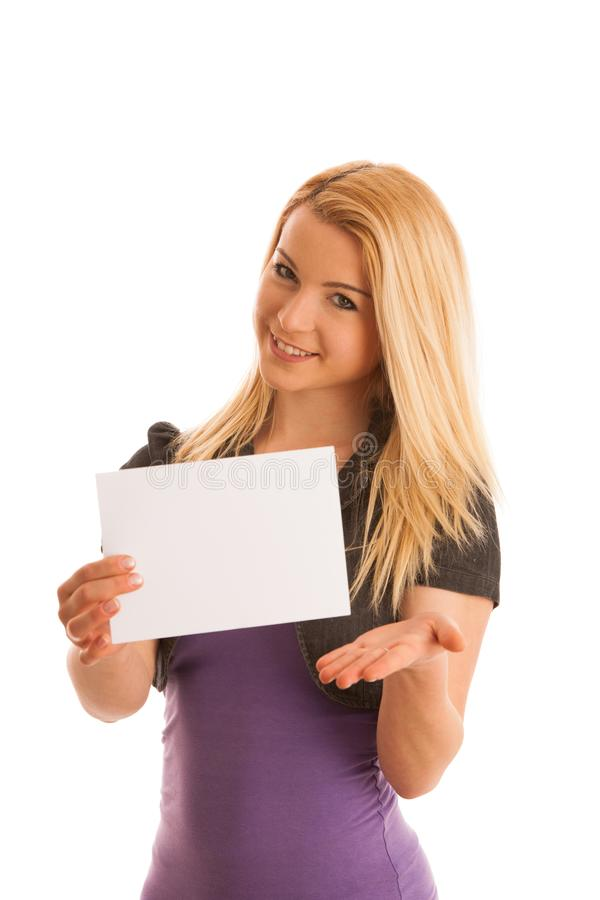 Beautiful blonde woman with blank banner for commercials isolate royalty free stock images