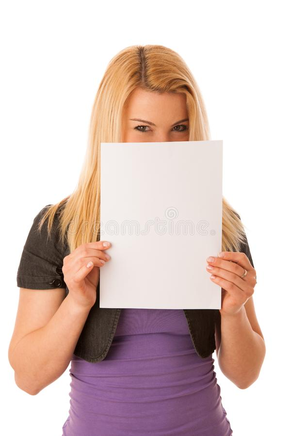 Beautiful blonde woman with blank banner for commercials isolate stock image