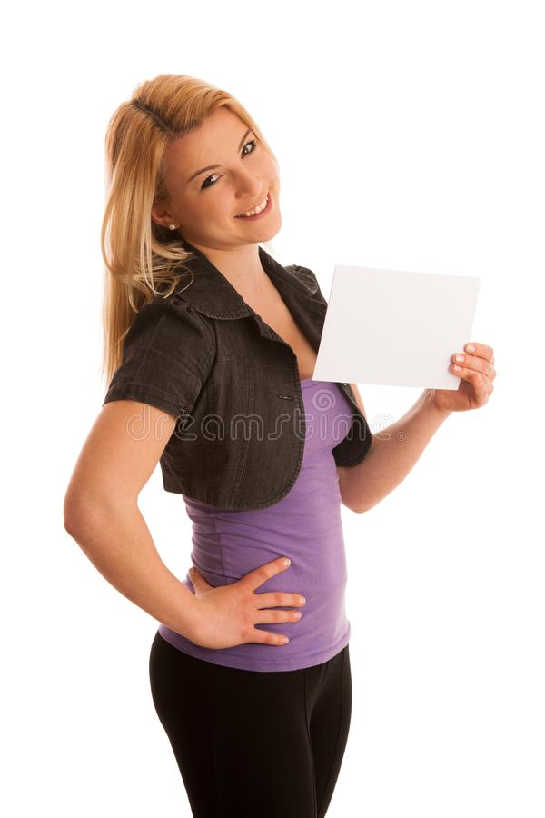 Beautiful blonde woman with blank banner for commercials isolate royalty free stock photos