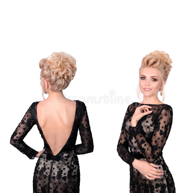 Download Beautiful Blonde Woman In Elegant Black Low Cut Back Evening Dress With Updo Hairstyle. Front And Back View Isolated On Stock Image - Image: 83702787